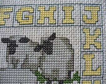 Country Cottage Decor Vintage Cross-Stitch Nursery Decor Alphabet Sampler Sheep Lambs Unframed