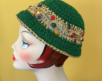 Vintage Crochet Cloche Or Tam Pixie Christmas Green And Sparkle Gold Colored Studs Jewels Handmade Mid Century Glitter 1959 1960