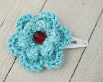 Turquoise blue Crochet Flower Hair Clip