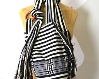 Cotton Hippie Purse - Vintage Striped Sling Bag - Lightweight Earthy Tote - Babywearing Purse