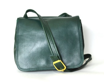Green Leather Purse - Small Buttery Soft Bag - Vintage Crossbody