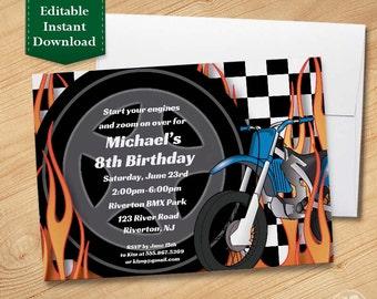 Motorcycle - Kids Birthday Party Invitation Template, Birthday Invitations for Kids Motocross