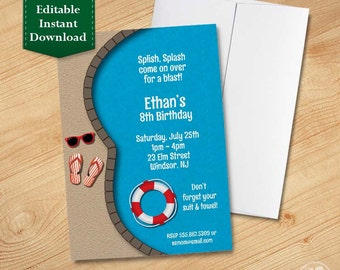 EDITABLE Instant Download - Pool Party Invitation, Summer Invitation, Birthday Party