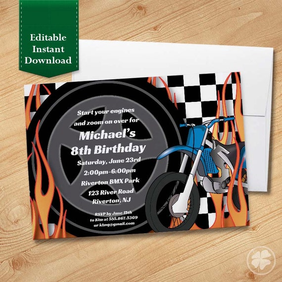 motorcycle kids birthday party invitation template birthday