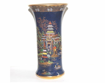 Early Carlton Ware blue Mikado vase, 1920/1926. Carlton Ware Best Ware. Chinoisserie Patterned Blue Vase. Art Deco vase