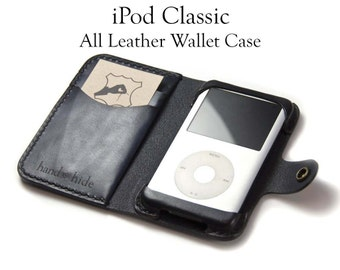 iPod Classic (6th or 7th gen) 80gb, 120gb, 160gb or iPod (5th gen) 30gb, 60gb or 80gb Leather Wallet Case - Free Inscription