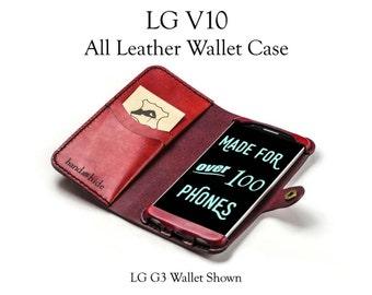 LG V10 Leather Wallet Case - No Plastic - Free Inscription
