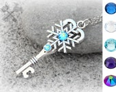 Personalized Charm Necklace / Snowflake Necklace / Swarovski Crystal Necklace / Skeleton Key Necklace / Christmas Gifts for Her