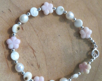 Sterling Silver Sea Conch, Pearl and Eye of Shiva Shell Bracelet