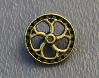 "Antiqued Brass Metal Flywheel Buttons 5/8"" Shank - Steampunk - Gold"
