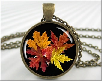 Fall Leaves Necklace Fall Season Pendant Resin Picture Charm Autumn Jewelry (003RB)
