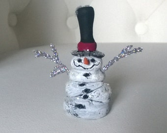 Clay Snowman Polymer Clay Doll Gift Figure Figurine Decoration Ooak Holiday Christmas Snow Man