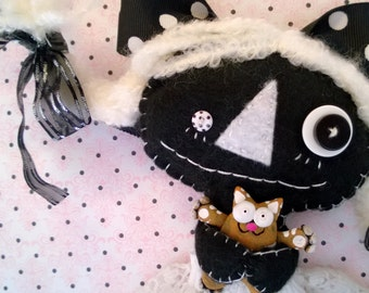 Black and White Goth Rag Doll with her Kitty Cat Ooak Collectable Cloth Art Gift Halloween Day of the Dead Gothic