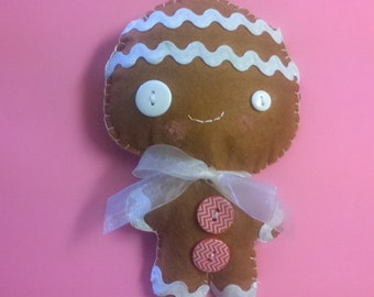 Kawaii Gingerbread Man Boy Plush Stuffed Animal Doll Brown Cloth Plushie Soft Softie Cute Ooak Gift Holiday Christmas Photo Prop