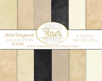 DIGITAL PAPER PACK:Beige Digital Paper, Digital Paper Marble, Ivory Distressed Digital Paper, Black Textured Digital Paper, #13018