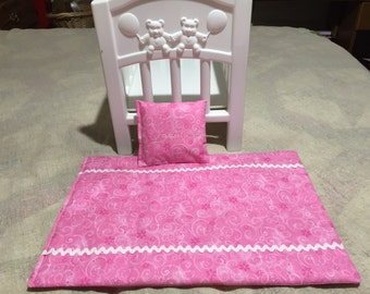 """Bright Pink with Glitter Swirls 18"""" Doll Quilt with Pillow"""