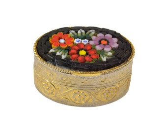Vintage Micro Mosaic Pill Box // Oval Flower Mosaic Gold Gilt Trinket Box Souvenir // Made in Italy