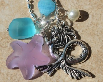 Mermaid Charm Necklace, Lavender & Blue sea glass charm necklace, starfish, shell, Pearl, Jewelry gifts from Inarajewels