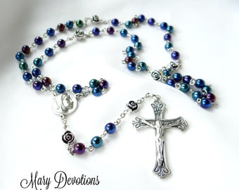 Blue Iris Madonna Rosary