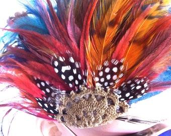 The Phoenix Rising//Feather Headband//Feather Headdress//Boho Style Hippie Headband//Festival Wear//Burning Man//Free Spirit Gypsy//Costume