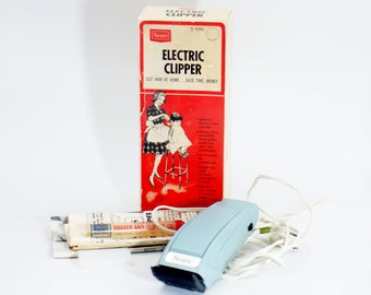Vintage Sears Electric Clipper Set 9360 Original Box Hair Clippers Cutters Trimmer Working Complete