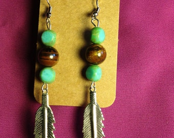 Silver Feathers with Tigers Eye