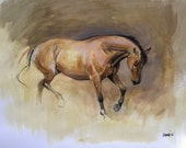 Original horse art equine art energy and movement equine horse mixed media movement art drawing 'Working Study II' by H Irvine