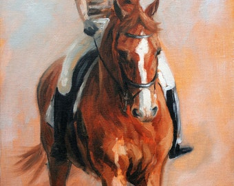 Equine art horse art print limited edition dressage based horses horse print 'Schooling II' from an original oil on board sketch