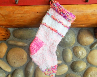Baby Pink Confetti Knit Christmas Stocking Hand Knit by Jingle Bell Socks