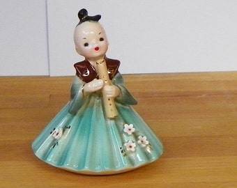 Vintage Japan Josef Original Wee Japanese Kabuki Series Shakuhachi Doll Figurine Girl International Like Lefton