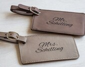 Pair (2) of Personalized Mr. & Mrs. Luggage Tags: Wedding Luggage Tags, Bride Groom Luggage Tags, Bride Groom Bag Tags, Wedding Bag Tags