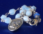 Guardian Angel Bracelet Opal and Blue Czech Glass Rosary Cherub One Decade Rear View Mirror Rosary Car Rosary Traveler Rosary (ORBWB-012516)