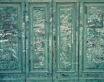 Street Art Photography, I Love You, Italy Decor, Green, Old Door, Urban Decor, Fine Art Photography, Large Modern Wall Art, Romantic Gift
