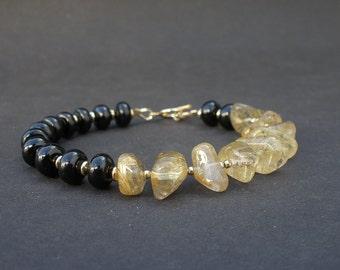 Black and Gold Bracelet, Golden Rutilated Quartz, Black Tourmaline - 14kt Yellow Gold Filled Toggle Clasp Bracelet