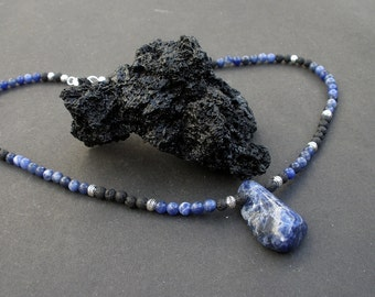 Natural Blue Sodalite Smooth Polish Raw Stone, Sodalite Round, Black Lava Round, 925 Bali Silver Men Pendant Necklace, Denim Unisex Necklace