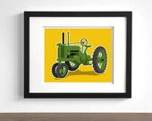Childrens art - Vintage Tractor wall art - pick your colors - boys wall art prints - modern nursery art