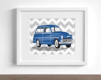 boys nursery wall art station wagon car - pick your colors - childrens art prints - classic vintage car nursery art for boys