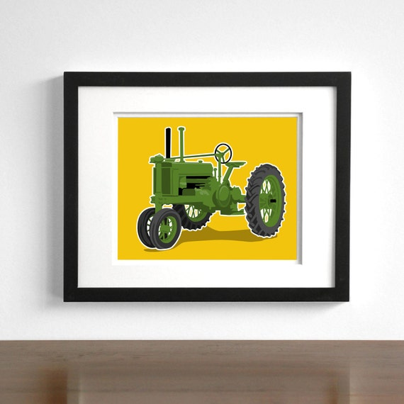 Childrens art - Vintage Tractor wall art - pick your colors - boys wall art prints - modern nursery art