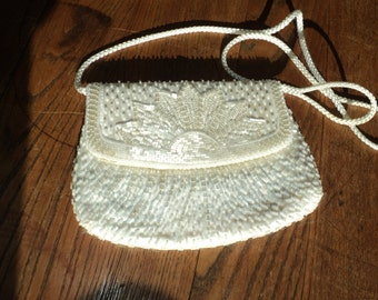 Vintage White Satin Evening Bag with Mother of Pearl Beads and White Faux Pearl Seed Beads in Vintage Condition