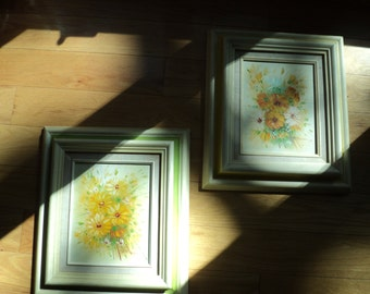 2 Vintage Original Oil paintings,  Sixties Style Flower Power Floral Still Life Daisies in Lemon Yellow and Lime Green painted wooden frames