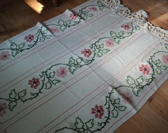 Vintage Crochet Afghan with Cross Stitched Floral Design in Salmon and Light Coral with green trailing vine and leaves, Twin Sized Bedding