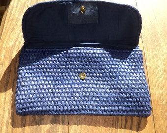 Vintage Straw Clutch Purse, Well Woven  Lovely Lapis Colored Blue Straw Envelope Shaped Clutch Purse, Made in Japan, in Very Good Condition