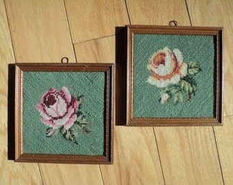 2 Vintage Needlepoint Samplers of a Red and Yellow Rose, Hand Made, Hand Sewn Tapestries framed in matching wood frames in Great Condition