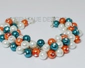 Pearl Cluster Bracelet, White/Orange/Teal Bracelet, Chunky Bracelet, Bridesmaid Jewelry, Teal and Orange Wedding, Miami Dolphins Bracelet