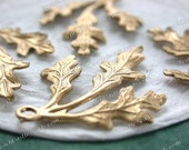 Raw Brass Leaves, 35 x 27mm Vintage Style Leaf Stampings, DIY Wedding Brass Tiara Headpiece Wreath Supplies, Made in USA ~ STA-220