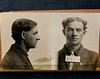 antique 1914 police mug shot---original not a reprint, before fingerprinting
