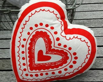 Screen printed red heart cushion/pillow