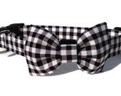 Black Gingham Dog Bow Tie and Collar Set  for Small to Large Dogs