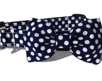 Navy Polka Dot Dog Bow Tie and Collar Set  for Small to Large Dogs