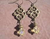 Eternal Knot and Vintage Yellow Crystal Earrings